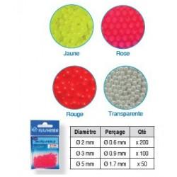 Perles / billes  plastique fluo rouge