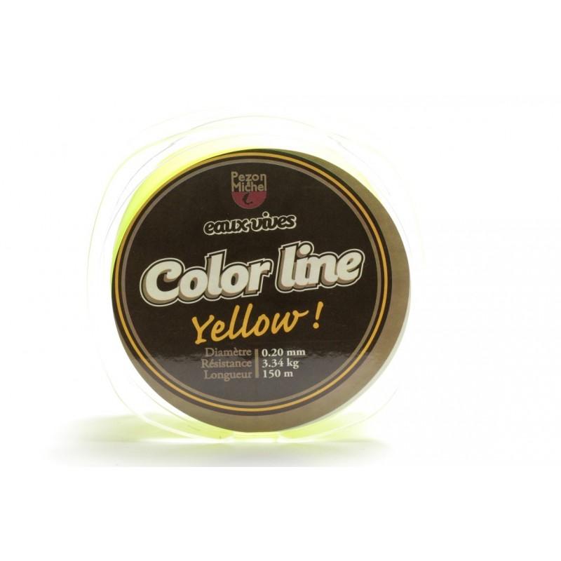 Nylon Pezon & Michel Eaux vives Color Line Jaune fluo (150 m)